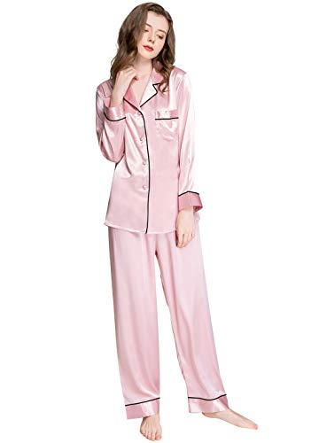 LONXU Damen Satin Pyjama Set Pink Medium