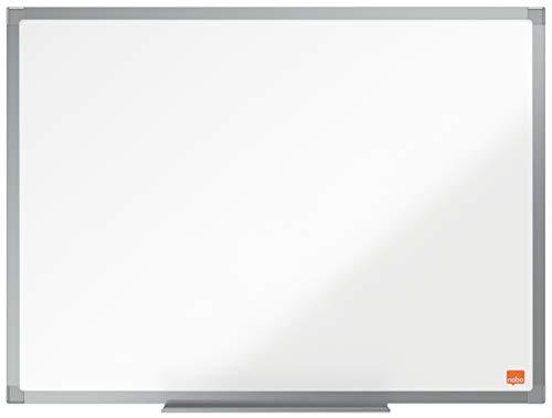 NoboPizarra Magnética de Acero, 600 x 450 mm, Marco de Aluminio, Fijado a la Pared con Montaje en las Esquinas, Bandeja para Rotuladores, Gama Essence, Blanco, 1905209