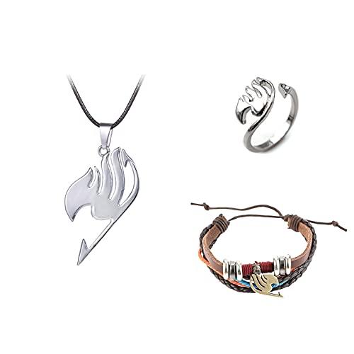 Saicowordist 3 piezas Fairy Tail Collar, pulsera y anillo de joyería, incluyendo creativo anillo abierto ajustable, collar con colgante de logotipo, pulsera tejida multicapa