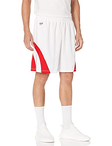 Intensität Weave Basketball Shorts, Unisex, White/Scarlet