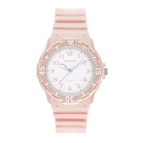 Allskid Adolescente Chicas Niñas Relojes Moda Colegio Estudiante Deporte Relojes Resina Correa de Reloj Mujer Moda Casual Relojes de Pulsera (32mm, Rosa)