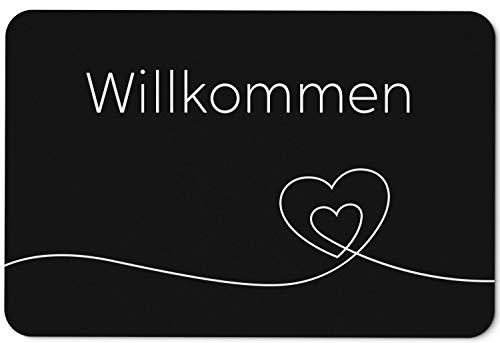 Fußmatte mit Spruch Willkommen Herz - Türmatte für innen/außen waschbar - Deutsche Qualität