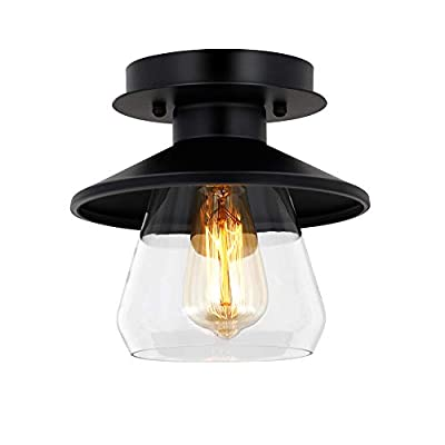Industrial Ceiling Light Fixture with Clear Glass Shade 1-Light Industrial Bedroom Light Fixtures Matte Black Ceiling Light Finish for Dining Room Bedroom Cafe Bar Corridor Hallway Bulb Not Included