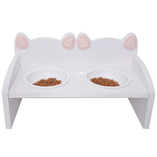 Xiao Long Fressnapf weiche nette Katzen-Kopf-Tabelle Katzennapf Futternapf Massivholz Keramik Katzennapf Cat Rice Bowl (2 Optional). hundekäfig (Size : B)