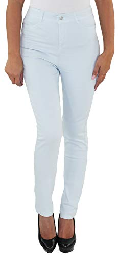 Damen High Waist Jeans Hose Skinny Stretch Slim Fit Röhren Hochschnitt Hellblau R8005-blau S/36