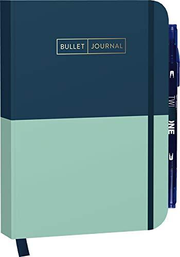 """Bullet Journal """"Mint Blue"""" 05 mit original Tombow TwinTone Dual-Tip Marker 42 navy: Mit Punkteraster, Seiten für Index, Key und Future Log sowie ... praktischem Verschlussband und Innentasche"""