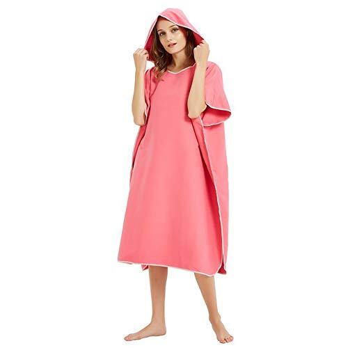 YSISLY Toalla cambiadora súper ligera y de secado rápido, cambio de bata de baño, toalla de poncho de surf para hombres y mujeres, poncho de cambio extra largo en microfibra (rosa rojo)
