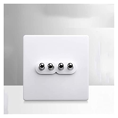 Beapet Interruptor de Pared Retro Color Blanco 86-Tipo Palanca Loft 110V-240V latón Antiguo 1-4gang 2 vía Interruptor de luz (Color : 4 Gang 2 Way)