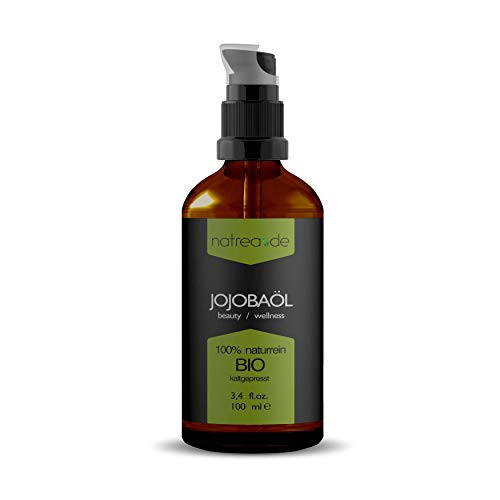 Natrea Jojobaöl | kaltgepresst ✅ für Gesicht - und Haare ✅ 100% reines BIO-Öl ✅ in 100 ml Apothekerflasche mit Pumpaufsatz …