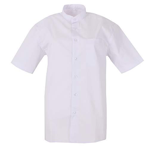 MISEMIYA - Camisa Uniforme Camarero Hombre Cuello Mao Mangas Cortas MESERO DEPENDIENTE Barman COCTELERO PROMOTRORES - Ref.827B - 4, Blanco