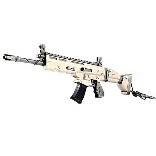 Llavero - 17 CM Arma Scar Rifle de asalto Modelo de Juguete de Aleación -Juguetes de Réplica de Armas para Niños Adultos, Decoraciones, Manualidades- Vista + Silenciador + Soporte + Cargador