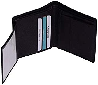 Genuine Leather Luxury Bifold Mens Wallet Black Credit Card Holder Slim Purse