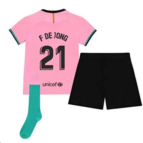 ARCADI 2020-2021 Kids/Youths Third Soccer Jersey/Short/Socks Colour Pink (Barcelona De Jong #21(5-6years/size20))