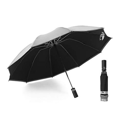 DZX Mochila Ligera, 10K, Grande, a Prueba de Viento, Plegable, automático, invertido, Paraguas, Parasol, Reflectante, Sol, Lluvia, Coche, Paraguas, Parasol (Color: Negro)