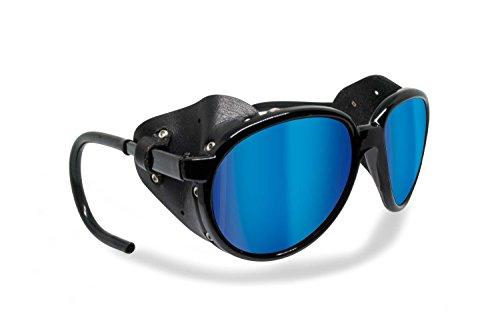 BERTONI Polarisierte Bergbrille Gletscherbrille Bergsteigerbrille Skibrille Trekking mod. Cortina Sonnenbrille - Glänzend Schwarz (blau verspiegelt - polarisiert)