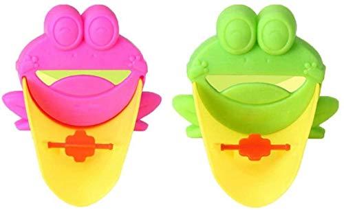 Wasser-Hahn-Extender, ZoneYan Waschtischarmatur Verlängerung für Kinder, Wasserhahn Erweiterung Kinder, Baby Hände Waschen Badezimmer, Händewaschen Waschbecken Cartoon Frosch Design