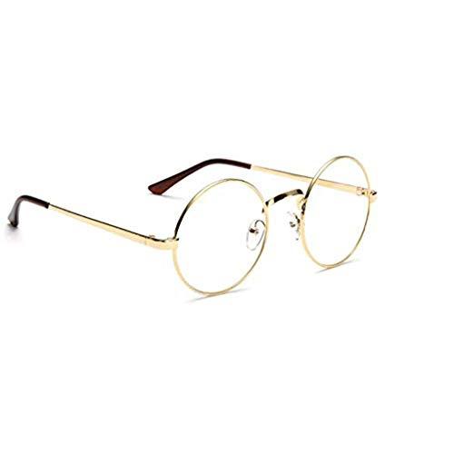 PRENKIN Unisex koreanische Weinlese-Brillen-runder Metallrahmen Brille-freier Objektiv-Augen-Glas-Zubehör
