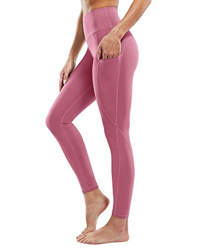 """G4Free High Waist Yoga Pants with Pockets Non See-Through Workout Running Tights Fabletics Leggings for Womens 26"""" Inseam (Pink,XL)"""