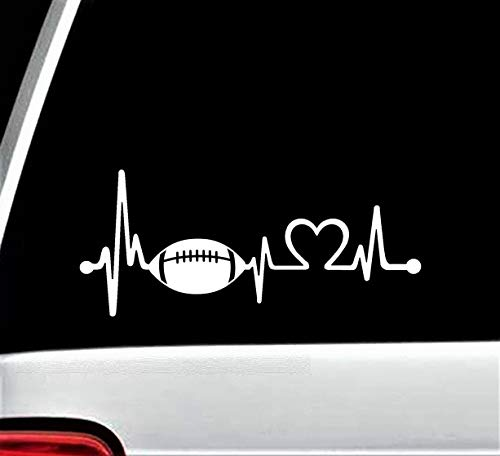 Calcomanía de fútbol Heartbeat Lifeline para ventana de coche, rugby, casco