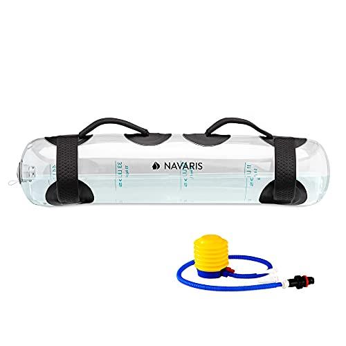 Navaris Aqua Bag für Krafttraining - Wasser Gewicht 20kg mit Pumpe - Stabilität Hantel Training Fitness Wassertasche faltbar mit Griff - transparent