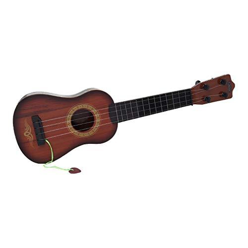 Kinder Gitarren, Musikinstrument Ukulele Mit 4 Seiten, Spielzeug Gitarre, Anfänger Spielgitarre Kindergitarre aus Holz (M-43cm, Brown)