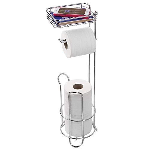 iDesign Klopapierhalter mit Ablage, schmaler Toilettenpapierhalter stehend aus Metall, freistehender Toilettenpapierständer für insgesamt 3 Rollen, silberfarben
