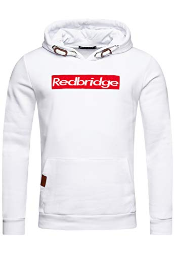 Redbridge Herren Kapuzenpullover Dicke Kordel Sweatshirt Hoodie Casual Pullover (XL, Weiß)