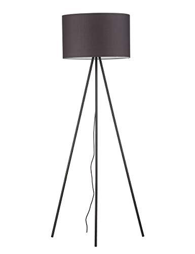 Modernluci Stehlampe Stativ Modern Stehleuchte Grau für das Wohnzimmer, Schlafzimmer Lampen, Zeitnah Stehlampe Tripod Skandinavischer Stil mit Textilschirm ø 45cm Höhe:150cm MEHRWEG