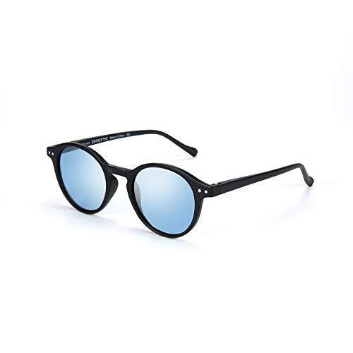 ZENOTTIC Occhiali da Sole Polarizzati Retrò Classici Rotondi Vintage Occhiali da Sole UV400 Montatura da Uomo e Donna (MATTE NERO + BLU)