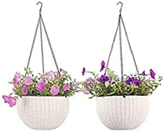 Round Self-Watering Hanging Planters for Indoor Outdoor Plants Plastic Resin Garden Hanging Baskets for Plants (White2)