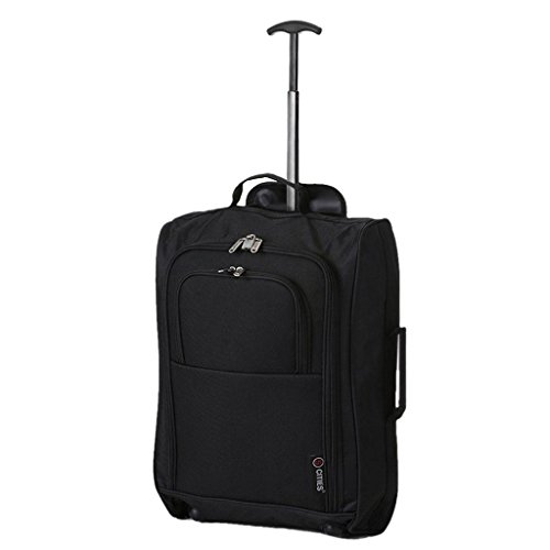 5 Cities Cabin Approved Trolley Bag, Black, 21-Inch / 55cm
