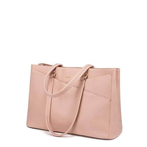 Laptop Tote Bag for Women 15.6 Inch Waterproof Leather Computer Bags Women Business Office Work Bag Briefcase Pink