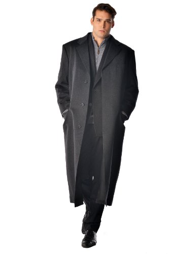 Cashmere Boutique: Men's Full Length Coat Overcoat Topcoat in 100% Pure Cashmere (Color: Black, Size: 48)