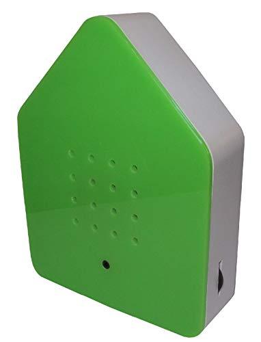 Zwitscherbox - Bewegungsmelder löst Vogelgezwitscher aus. Entspannend, erfrischend. Designobjekt 11 x 15 cm grün