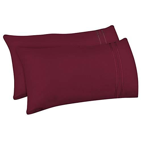 Lirex 2-Pack Fundas de Almohada, Tamaño 50 cm x 101 cm Fundas de Almohada de Microfibra Suave Cepillada, Transpirables sin Arrugas y Lavables a Máquina, Vino Rojo