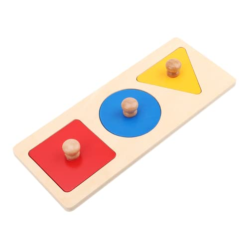 Juguete Geométrico Para Bebés, Rompecabezas Geométricos Suaves, Duraderos Y Seguros Para Niños Pequeños, Rompecabezas De Madera, Rompecabezas De Madera Para Bebés Y Niños(Panel de tres colores)