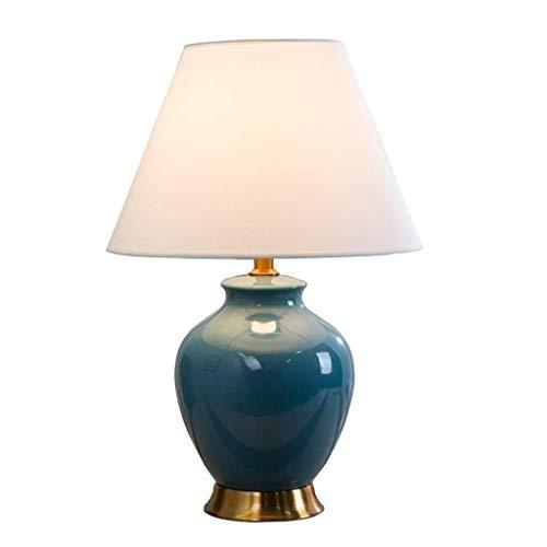 FHW Vector decorativa cerámica de la lámpara lámpara de mesa, retro pequeño LED lámpara de mesa pantalla de la tela Dormitorio Sala de Estudio Sala de noche lámpara de escritorio E27 Azul Lámparas de
