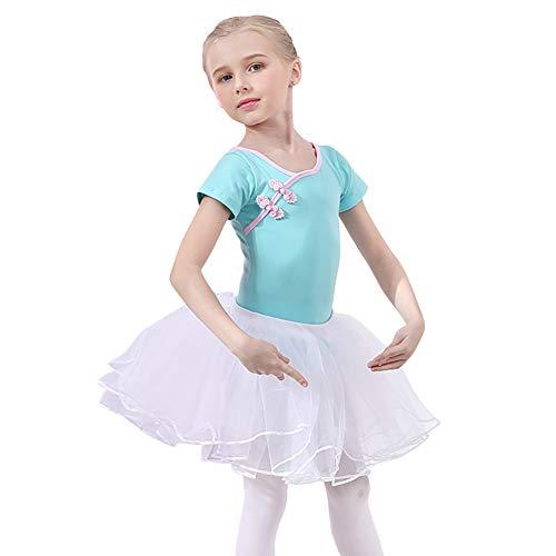 IBAKOM Vestido de ballet para nia, manga corta, maillot tut, falda de gimnasia, traje de ballet, estilo chino, disfraz de danza, color azul, 2, 10-11 aos