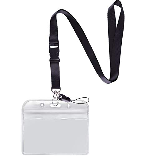 YOUOWO Lanyard with Badge Holder Black Neck Strap Detachable Buckle Lanyard with Horizontal id Name Tag Card Holders Zipper Waterproof Resealable Clear Plastic Pack of 1
