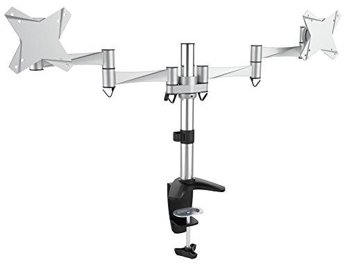 RICOO ALU Monitor-Halterung Ständer 2 Monitore Schwenkbar Neigbar (TS3311) Universal für 13-27 Zoll (bis 8-Kg, VESA 100x100) Schreibtisch-Bildschirm-Ständer Stand-Fuß Drehbar