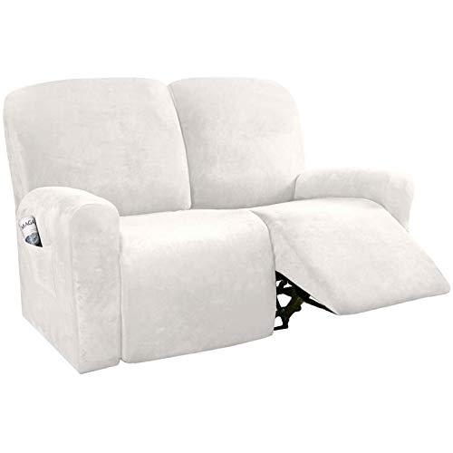 XDKS Copridivano reclinabile in velluto elasticizzato per divano reclinabile, elegante fodera per mobili, protezione per mobili, lavabile (dente bianco, 2 reclinabili)