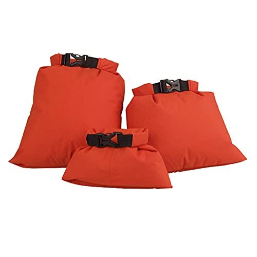 Accesorios de kayak 3 piezas ultraligero a la deriva de canotaje, kayak, natación, impermeable, bolsa seca, camping, rafting, bolsa de almacenamiento plegable (color naranja)