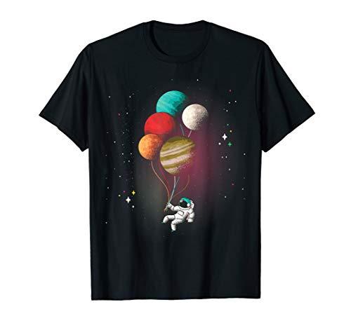 Astronaut Planeten Ballons Weltall Astronomie Universum Spaß T-Shirt