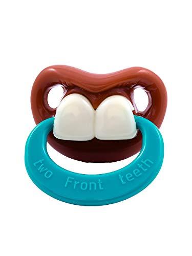 Billy Bob Pacifiers Two Front Teeth with Ring - lustiger Baby-Schnuller mit Hasenzähnen - 2 Vorderzähne - Zwei Zähne - Fun-Schnuller für Karneval & Halloween