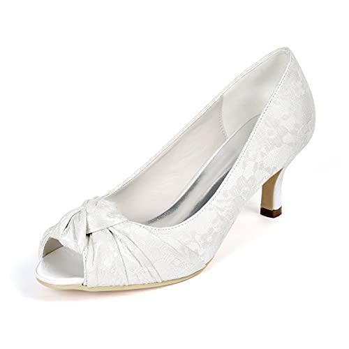 Zapatos de Tacón Punta Abierta Verano para Mujer Encaje Satén Tacon Bajo...