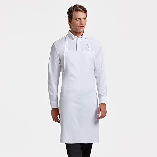 Delantal de Cocina Masterchef Adulto. Personalizado con tu Nombre Bordado. Poliester-Algodon Blanco o Negro (Blanco)