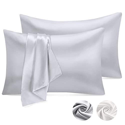 Emooqi Satin Kissenbezug, Satin Kopfkissenbezug Seidig Kissenhülle 50x75cm für Haar- und Hautpflege, Kissenbezüge in 2er Set Silber-Grau
