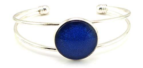 Stechschmuck Armband Armreif Armspange Handmade Handgefertigt Blau Dunkelblau Silber Farben Damen Kinder Kitsch Kawaii 22mm Motivdurchmesser