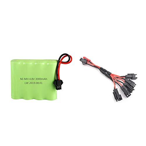 MeGgyc SM Plug 4.8v 3000mah Batería para Juguetes RC Coches Robots Barcos AA 4.8v Batería Recargable White