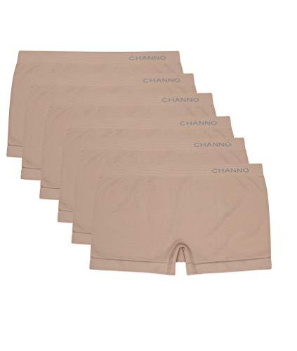 Bragas Culotte Shorts de Lycra Sin Costuras Suaves y Cómodos (Pack de 6) (Vison, U)
